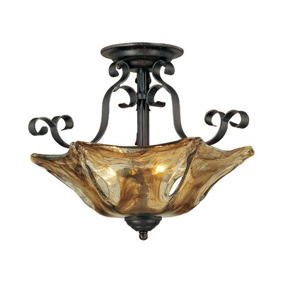 Whaley 3-Light Glass Shade Semi-Flush Mount