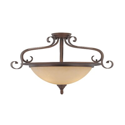Auburn 3-Light Semi-Flush Mount Size: 15.5 H x 27 W