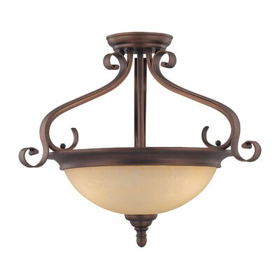Auburn 3-Light Semi-Flush Mount Size: 16 H x 19.5 W
