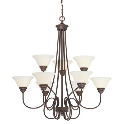 Fulton 9-Light Shaded Chandelier Finish: Rubbed Bronze