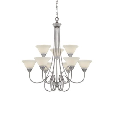 Fulton 9-Light Shaded Chandelier Finish: Rubbed Silver