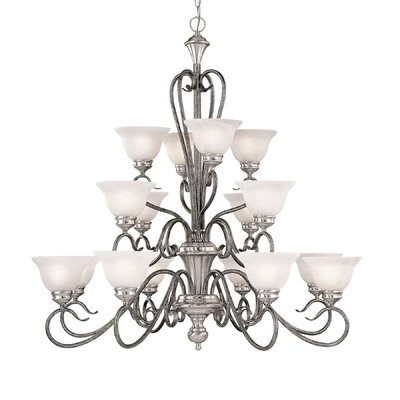 Birchview 16-Light Shaded Chandelier Finish: Satin Nickel/Silvermist