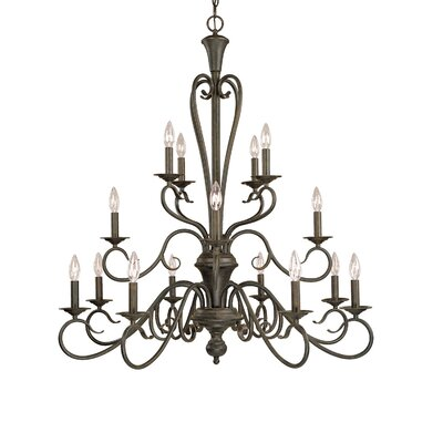 Birchview 16-Light Candle-Style Chandelier Finish: Burnished Gold