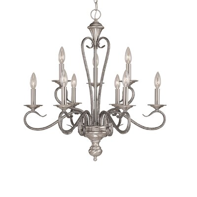 Birchview 9-Light Candle-Style Chandelier Color: Satin Nickel/Silvermist