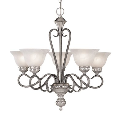 Birchview 5-Light Shaded Chandelier Color: Satin Nickel/Silvermist