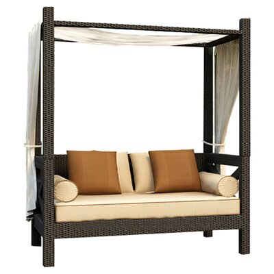 Hampton Daybed with Cushions Finish: Chocolate, Fabric: Canvas Antique Beige / Canvas Cocoa Welt