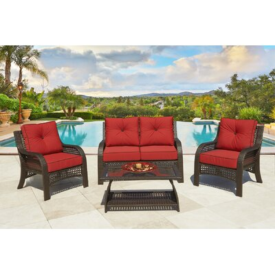 Cassimere 4 Piece Rattan Sofa Set with Cushion