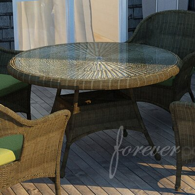Rockport Dining Table with Glass Top Finish: Chestnut, Table Size: 48 L x 48 W