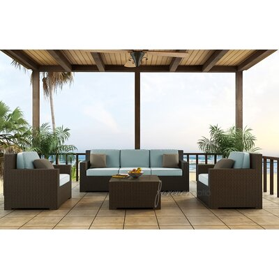Hampton Sofa with Cushions Fabric: Canvas Spa / Canvas Spa Welt, Finish: Chocolate
