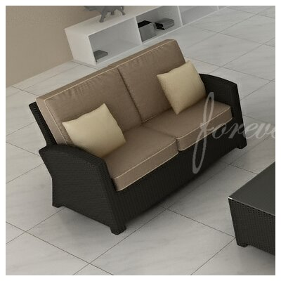 Barbados Loveseat with Cushions Fabric: Spectrum Mushroom / Spectrum Sand Welt