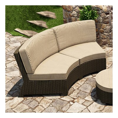 Barbados Curved Sofa with Cushions Fabric: Spectrum Mushroom / Spectrum Sand Welt