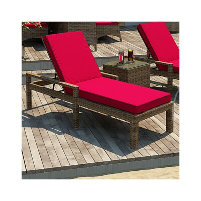 Forever Patio Cypress Chaise Lounge with Cushion - Fabric Color: Flagship Ruby / Canvas Bay Brown Welt