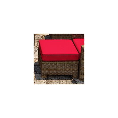 Cypress Ottoman with Cushion Fabric: Flagship Ruby / Canvas Bay Brown Welt