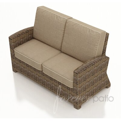Cypress Loveseat with Cushion Fabric: Spectrum Mushroom / Spectrum Sand Welt