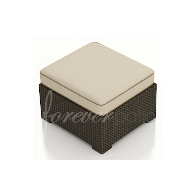Hampton Ottoman with Cushion Finish: Chocolate, Fabric: Canvas Antique Beige / Canvas Cocoa Welt