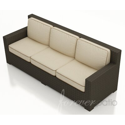 Hampton Sofa with Cushions Finish: Chocolate, Fabric: Canvas Antique Beige / Canvas Cocoa Welt