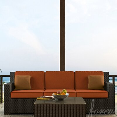 Hampton Sofa with Cushions Finish: Chocolate, Fabric: Canvas Rust / Spectrum Sierra Welt