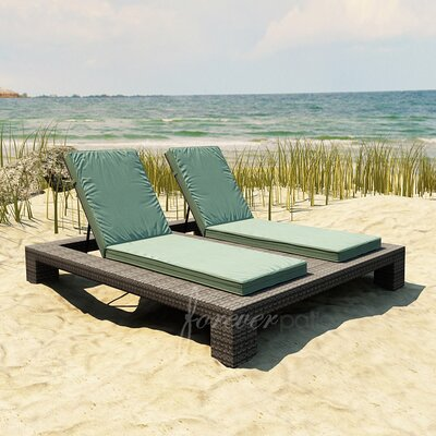 Hampton Double Chaise Lounge with Cushion Fabric Color: Canvas Spa / Canvas Spa Welt, Finish: Heather