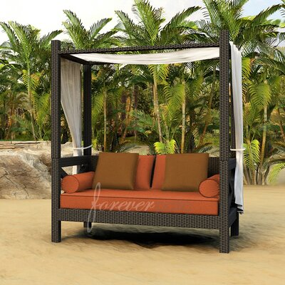 Hampton Daybed with Cushions Finish: Chocolate, Fabric: Canvas Rust / Spectrum Sierra Welt