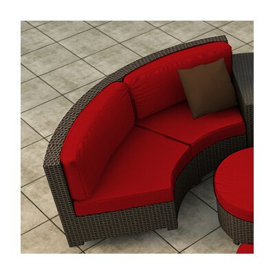 Hampton Loveseat with Cushions Finish: Chocolate, Fabric: Flagship Ruby / Flagship Ruby Welt