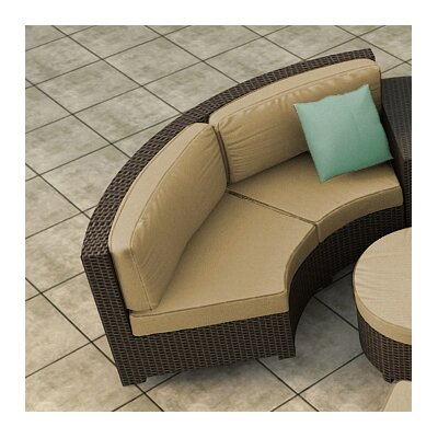 Hampton Loveseat with Cushions Finish: Chocolate, Fabric: Canvas Heather Beige / Canvas Heather Beige Welt