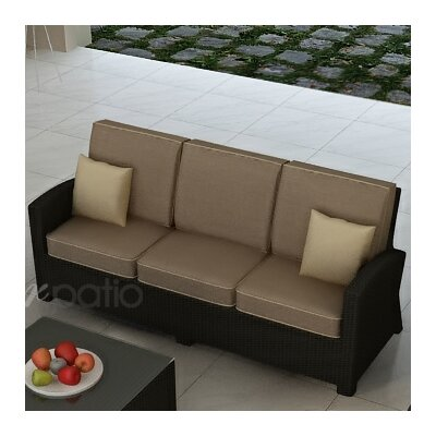 Barbados Sofa with Cushions Fabric: Spectrum Mushroom / Spectrum Sand Welt