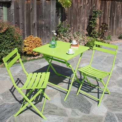 Trey 3 Piece Bistro Set Finish: Green