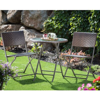 Byington Round Glass Top Table 3 Piece Bistro Set
