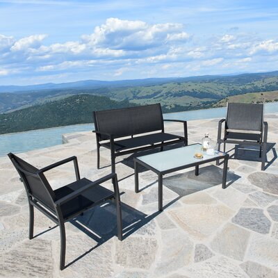 Byrdhill Outdoor Sling Fabric 4 Piece Bench Seating Group