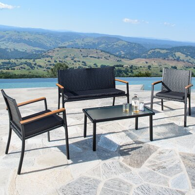 Byrdhill Outdoor Wicker 4 Piece Bench Seating Group