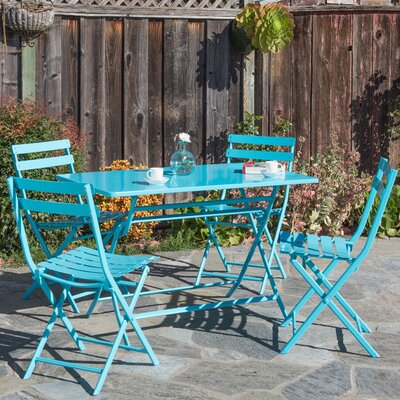 Trey Rectangular Steel Patio Folding 5 Piece Bistro Set Finish: Blue
