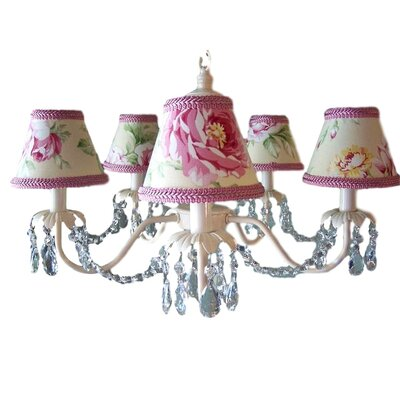 Camillah 5-Light Shaded Chandelier Shade: Stop and Smell the Roses