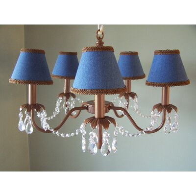 Camillah 5-Light Shaded Chandelier Shade: Jamestown Blue and Brown
