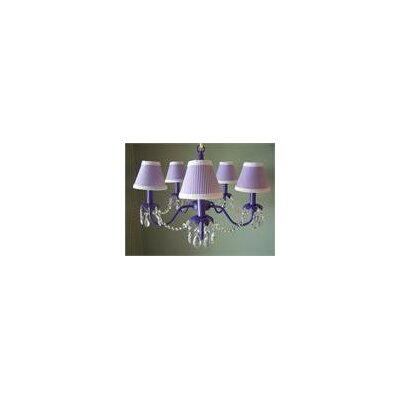 Camillah 5-Light Shaded Chandelier Shade: Fluttering Butterflies Purple