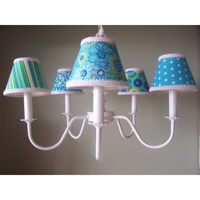 Aqua Mix and Match 5-Light Shaded Chandelier