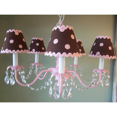 Baby 5-Light Shaded Chandelier Shade: Chocolate Ric-Rac