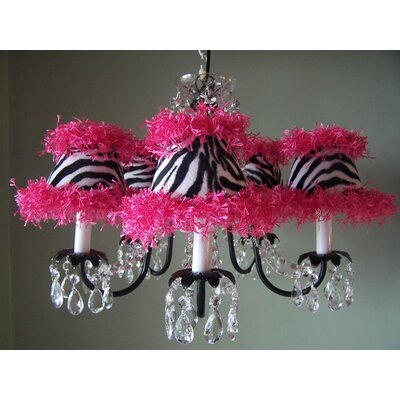 Diva Bling 5-Light Shaded Chandelier Shade: Zebra Prink