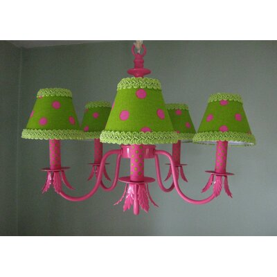 Shock Pink and Lime Dottie 5-Light Shaded Chandelier