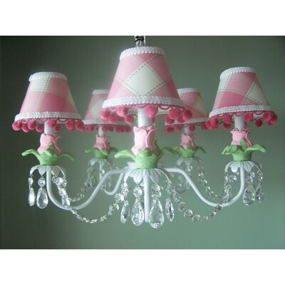 Tulip Bouquet 5-Light Shaded Chandelier Shade: Delightful Dots Keylime Pie
