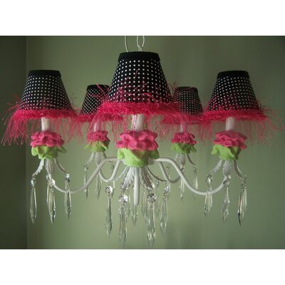 Hot Flower 5-Light Shaded Chandelier Shade: Hot Pink Flower