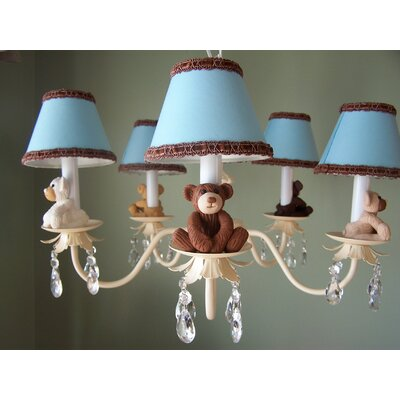 Teddy Time 5-Light Shaded Chandelier Shade: Dots in Color