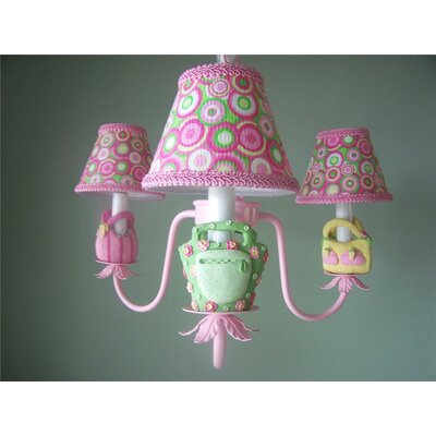 Happy Handbag 3-Light Shaded Chandelier Shade: Flamingo Paradise