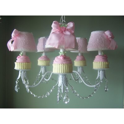 Yummy Cupcakes 5-Light Shaded Chandelier Shade: Wild Strawberry