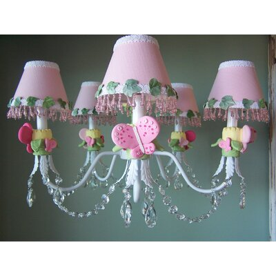 Pink Flutter Butterfly 3-Light Shaded Chandelier