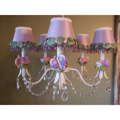 Purple Flutter Butterfly 5-Light Shaded Chandelier Shade: Purple Fluttering Butterfly