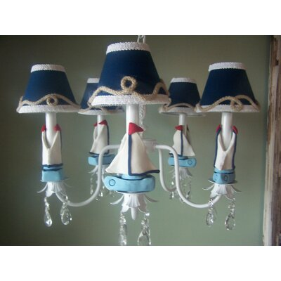 Nautical Sailboats 5-Light Shaded Chandelier Shade: Sailboat Stripe