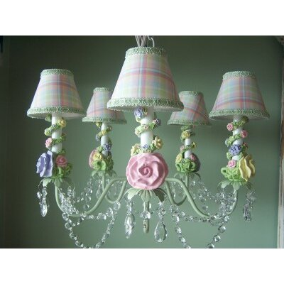 Climbing Rose Trellis 5-Light Shaded Chandelier Shade: Lemon Souffle