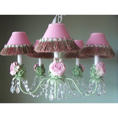 Pretty Flower Garden 5-Light Shaded Chandelier Shade: Honey Dew