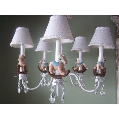 Baby Rocking Horse 5-Light Shaded Chandelier Shade: Sky Blue