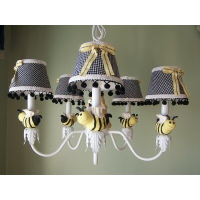 Bee My Baby 5-Light Shaded Chandelier Shade: Delightful Dots Lemonade